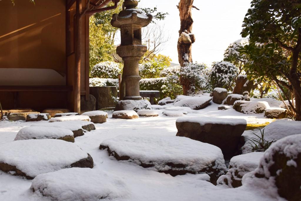 雪_飛び石