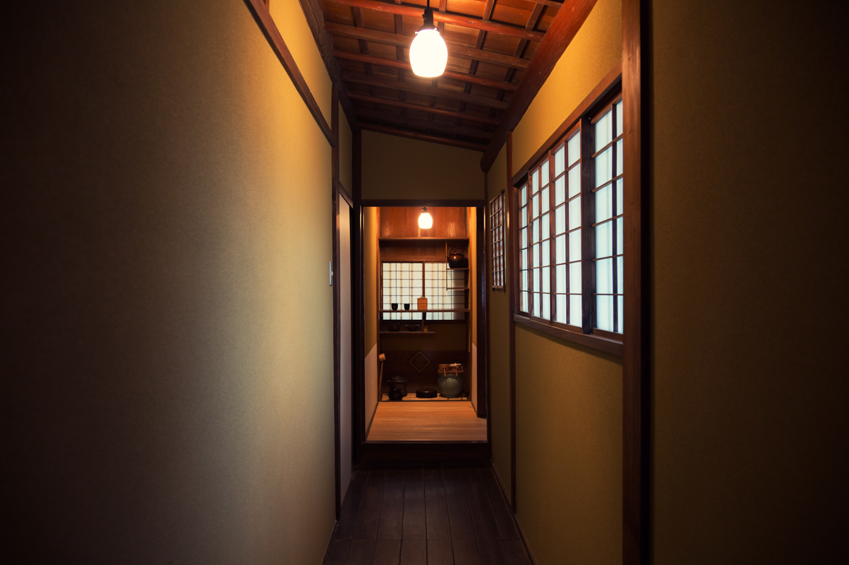 Hallway leads to the tea room, a late Edo period feature.
